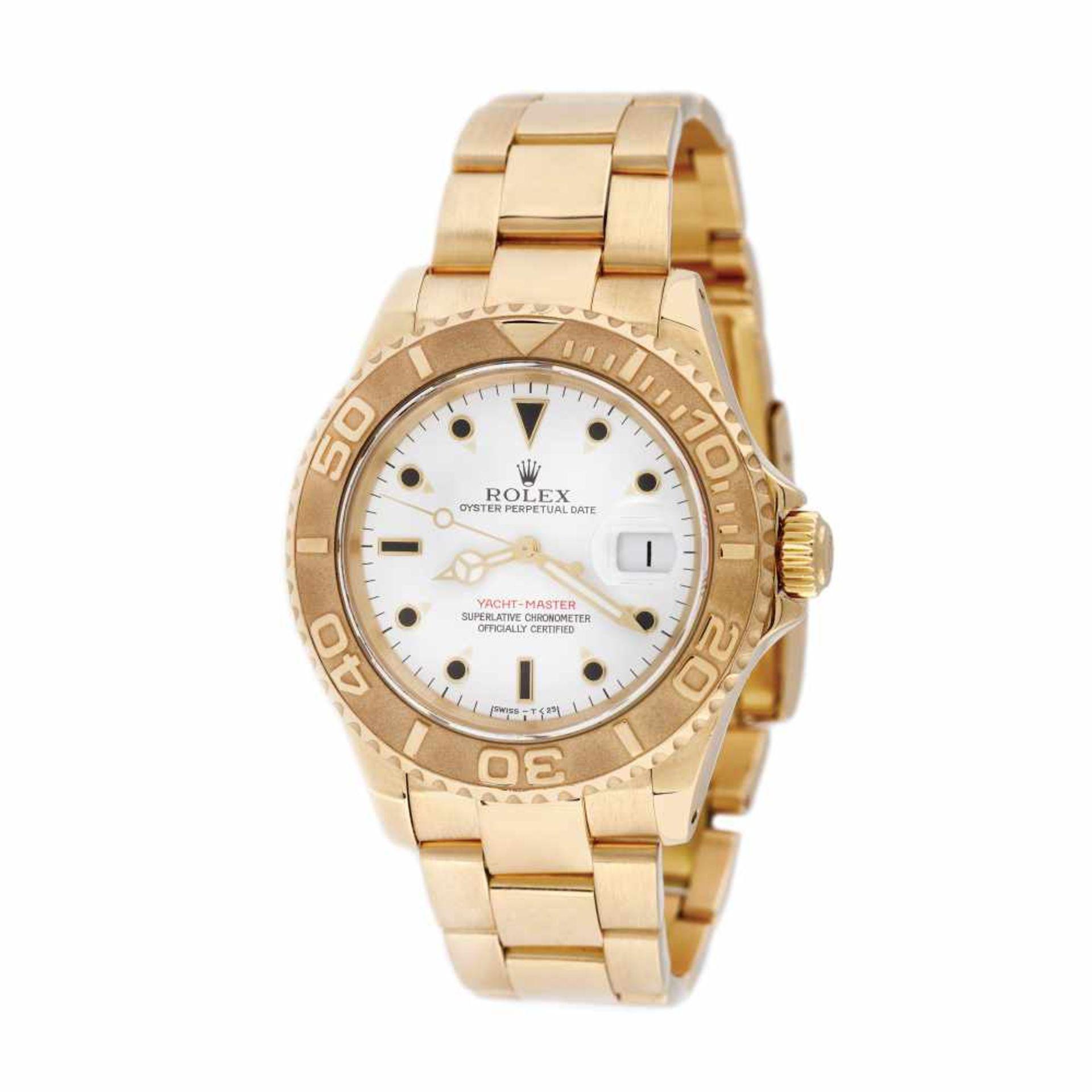 Rolex Yacht Master wristwatch, gold, men, instruction manual and original box