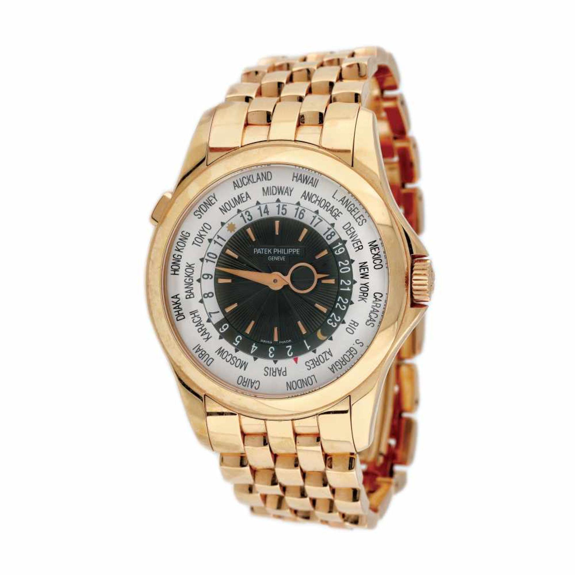 Patek Phillipe World Time wristwatch, gold, men, provenance documents and original box