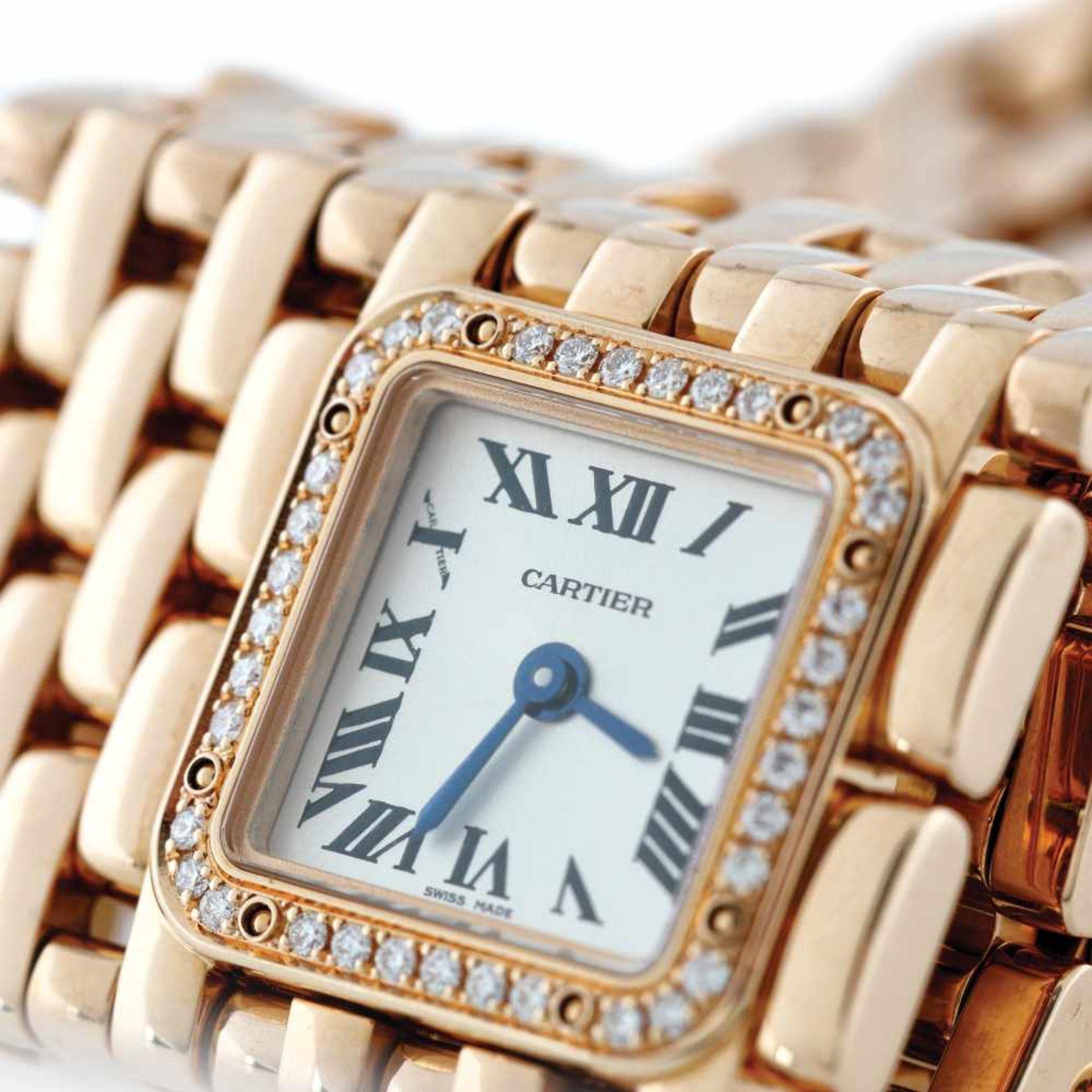Panthère de Cartier Manchette bracelet watch, rare, gold, women, decorated with diamonds, provenanc - Bild 6 aus 6