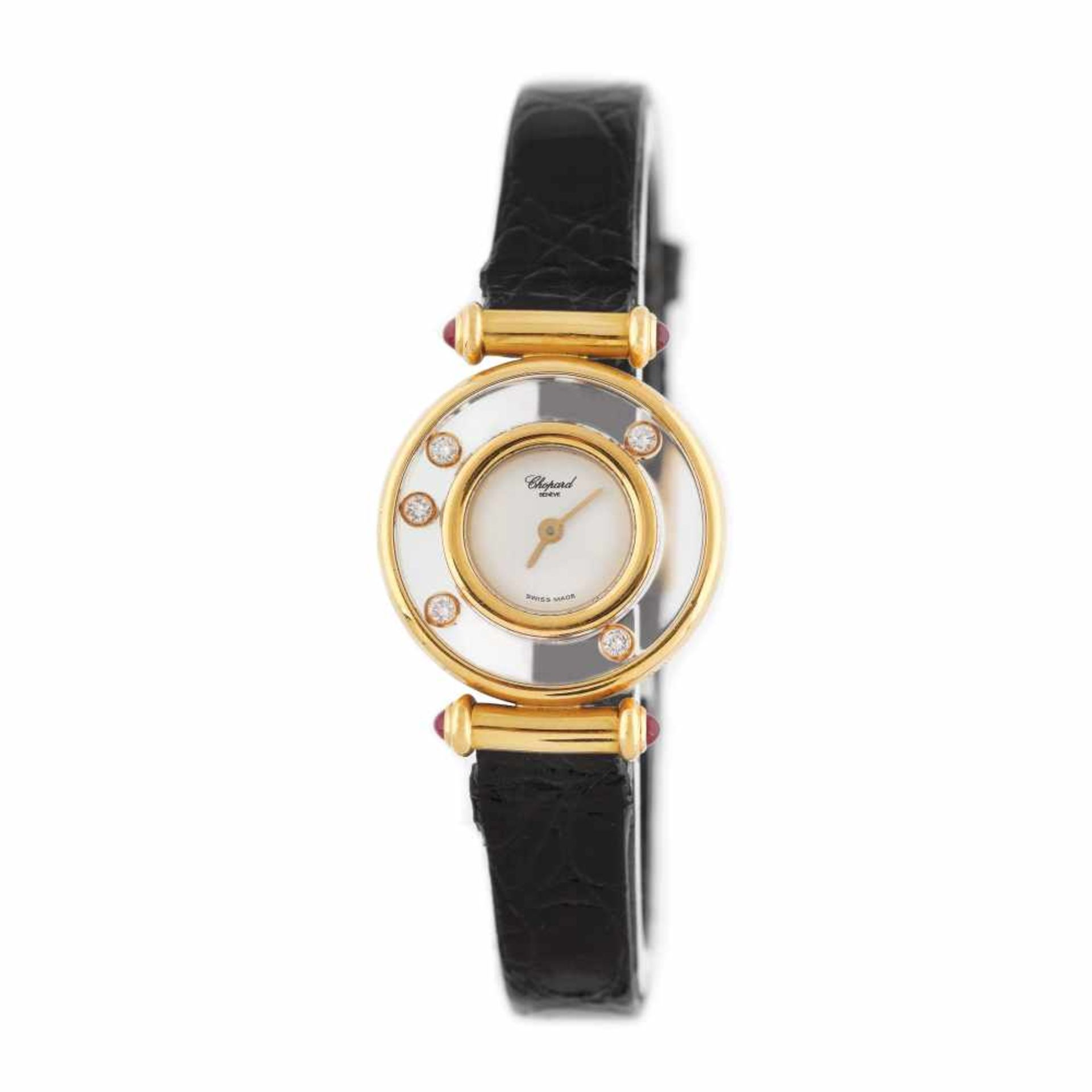Chopard Happy Diamonds wristwatch, gold, women, decorated with diamonds and rubies, setting pin and