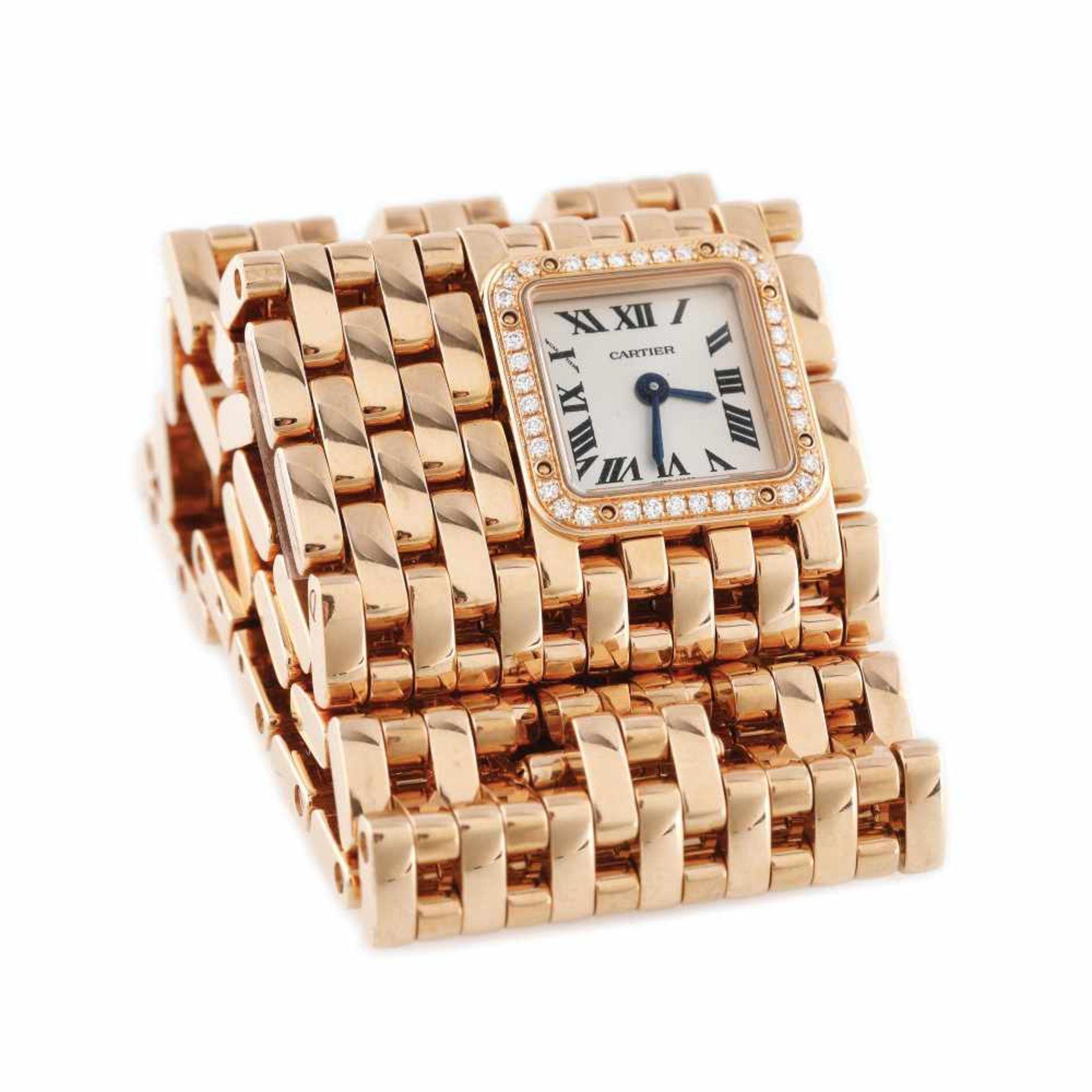 Panthère de Cartier Manchette bracelet watch, rare, gold, women, decorated with diamonds, provenanc - Bild 2 aus 6