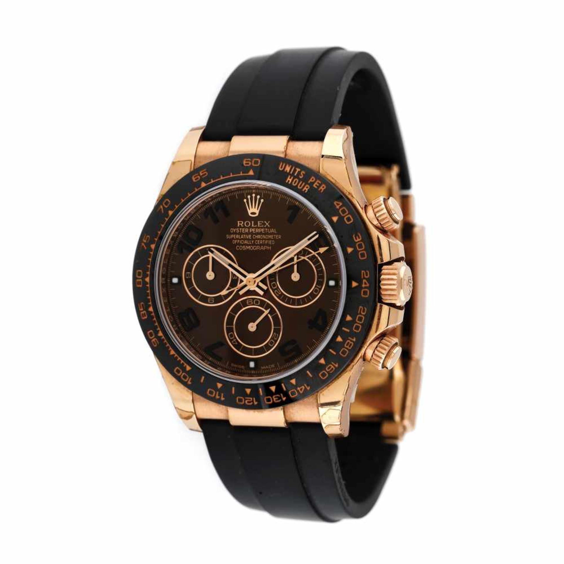 Rolex Daytona wristwatch, rose gold, unisex, original box