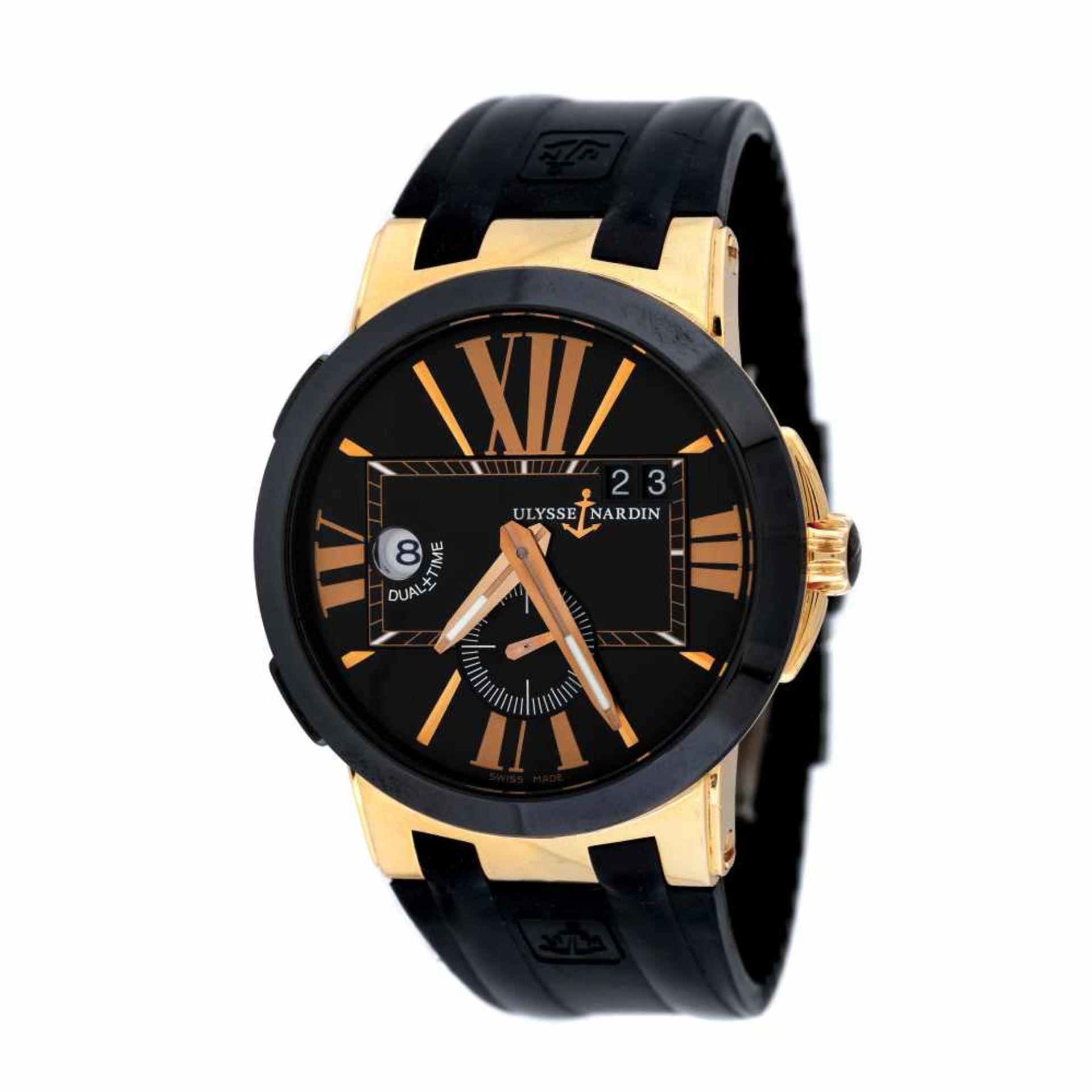Ulysse Nardin Executive Dual Time wristwatch, rose gold, men, provenance documents