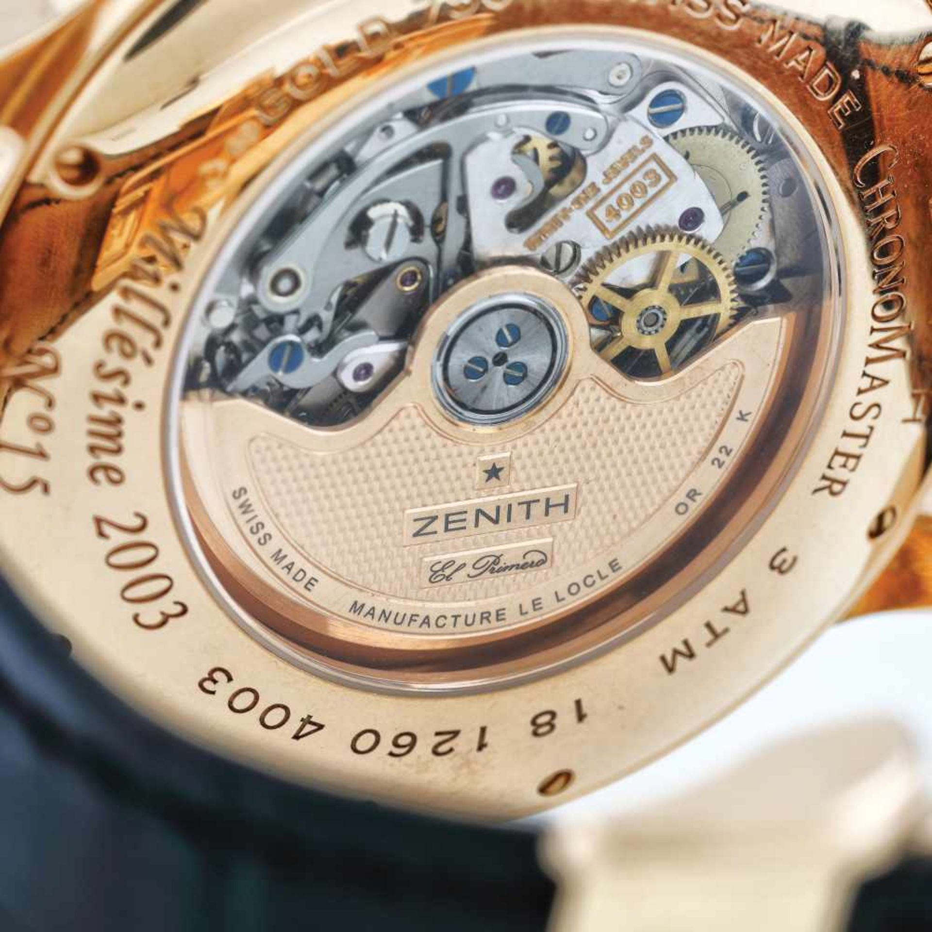 Zenith Chronomaster Millésime El Primero wristwatch, rose gold, men - Bild 4 aus 4