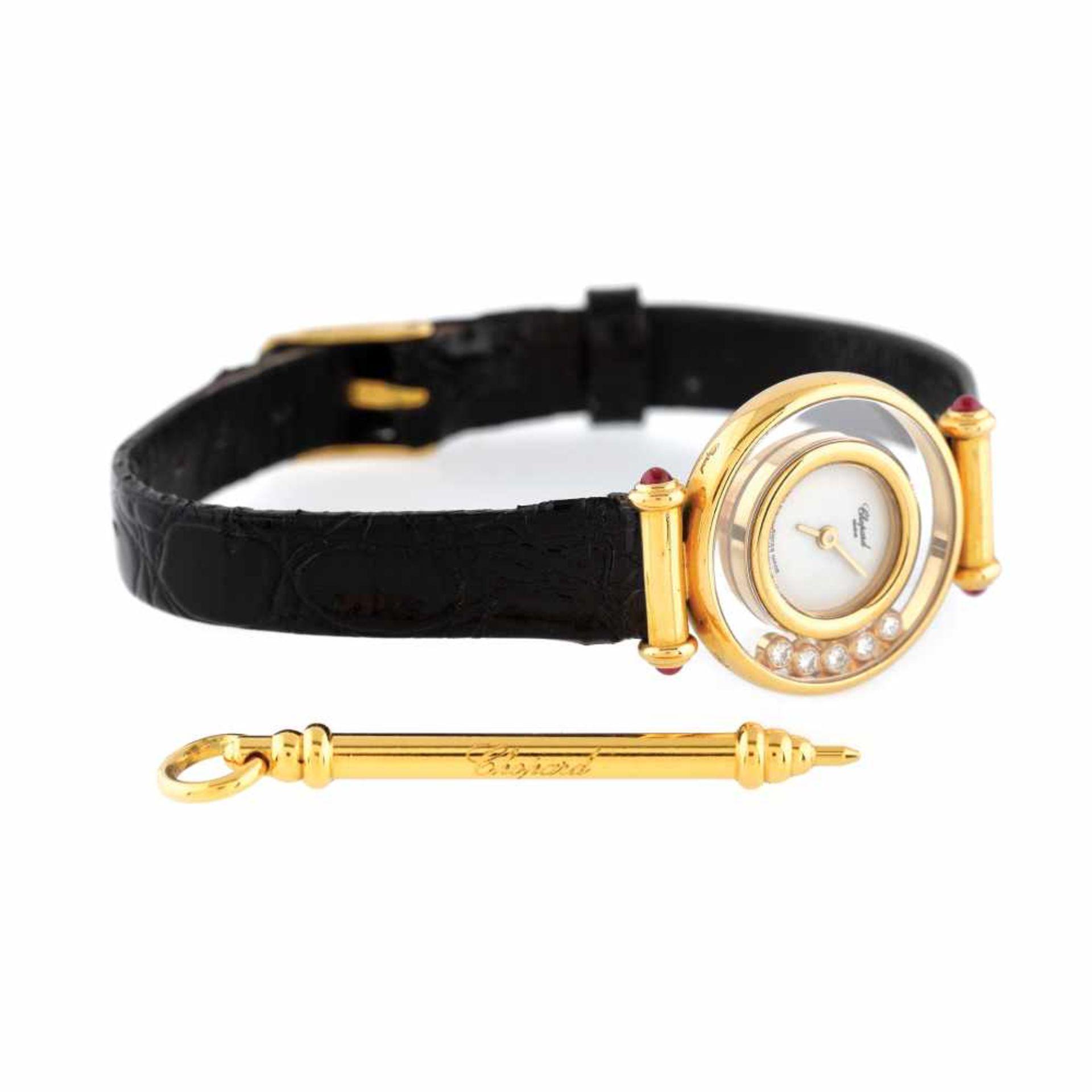 Chopard Happy Diamonds wristwatch, gold, women, decorated with diamonds and rubies, setting pin and - Bild 3 aus 3