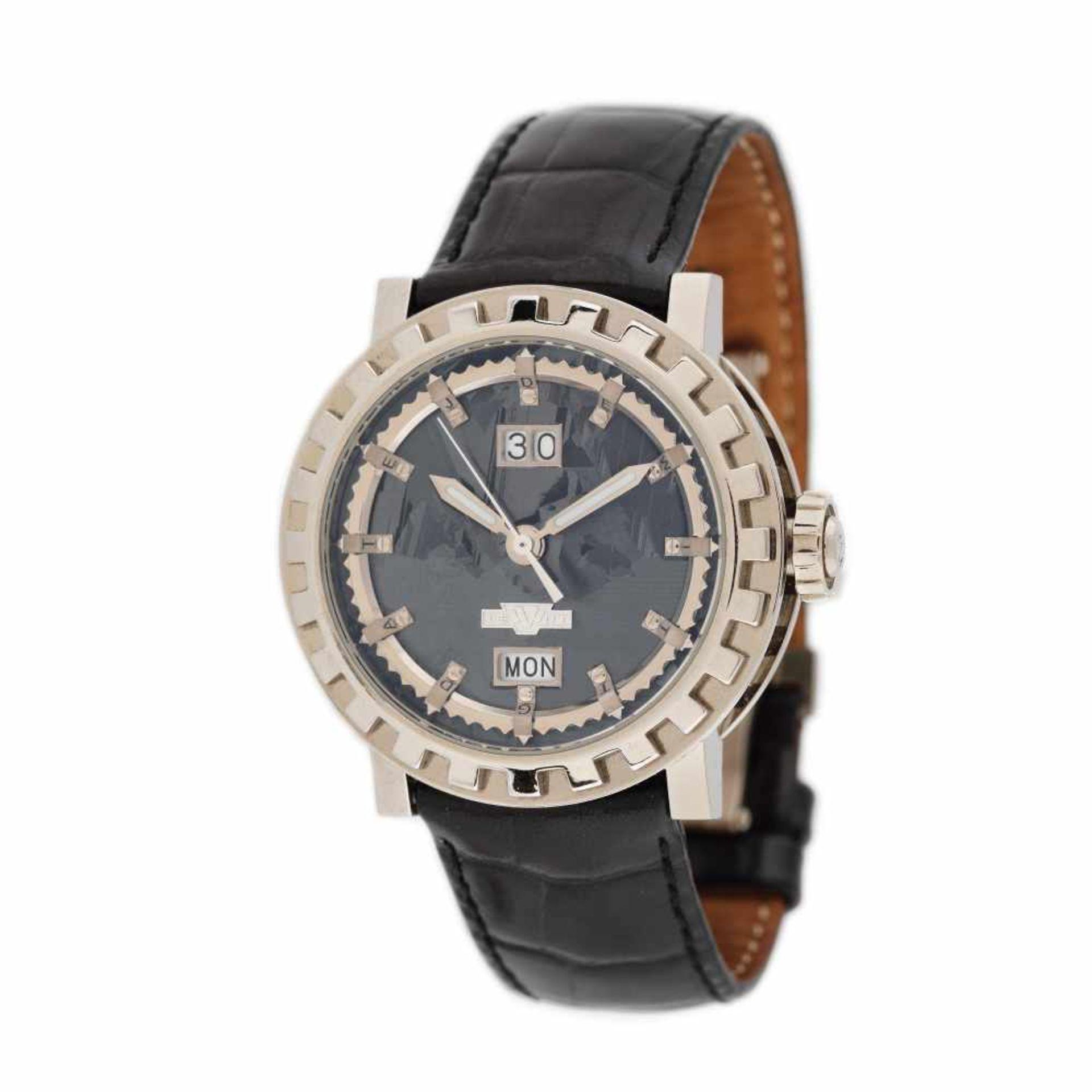 DeWitt Academia Grande Date Silicium wristwatch, white gold, men