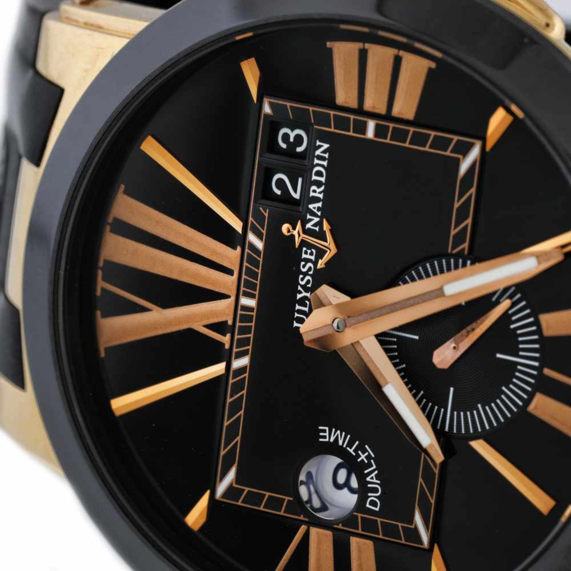 Ulysse Nardin Executive Dual Time wristwatch, rose gold, men, provenance documents - Bild 2 aus 4