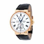 Ulysse Nardin Marine Chronometer wristwatch, rose gold, men, limited edition 22/30, provenance docum