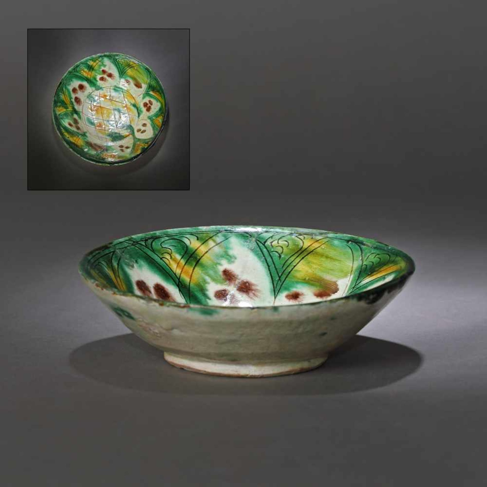 Persian ceramic vessel with three-color glaze, approx. 800 years old, 12th century (accompanied by a
