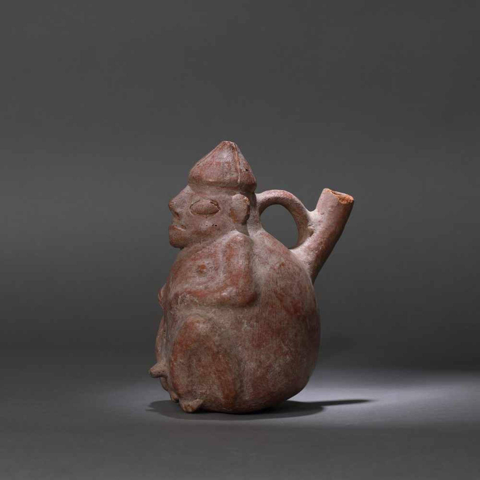 Ceramic vessel, illustrating a man, Vicus culture, Peru, approx. 1,550 years old, 5th century (accom - Bild 4 aus 6