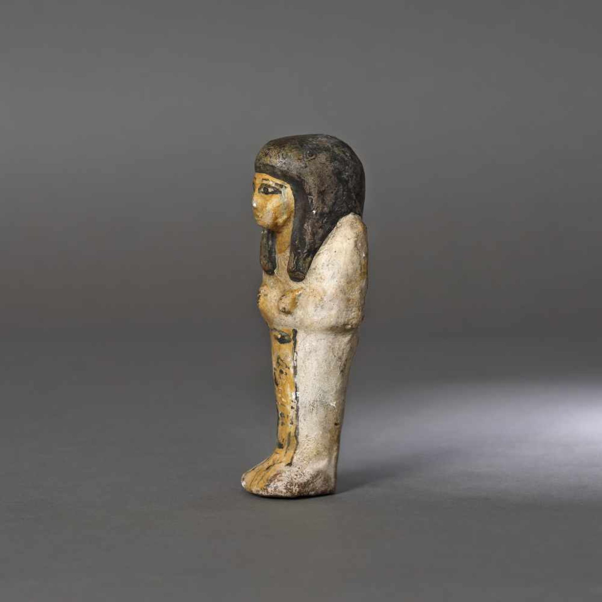 Egyptian painted ceramic statuette, representing a maid for the afterlife, probably the Late Dynasti - Bild 3 aus 3