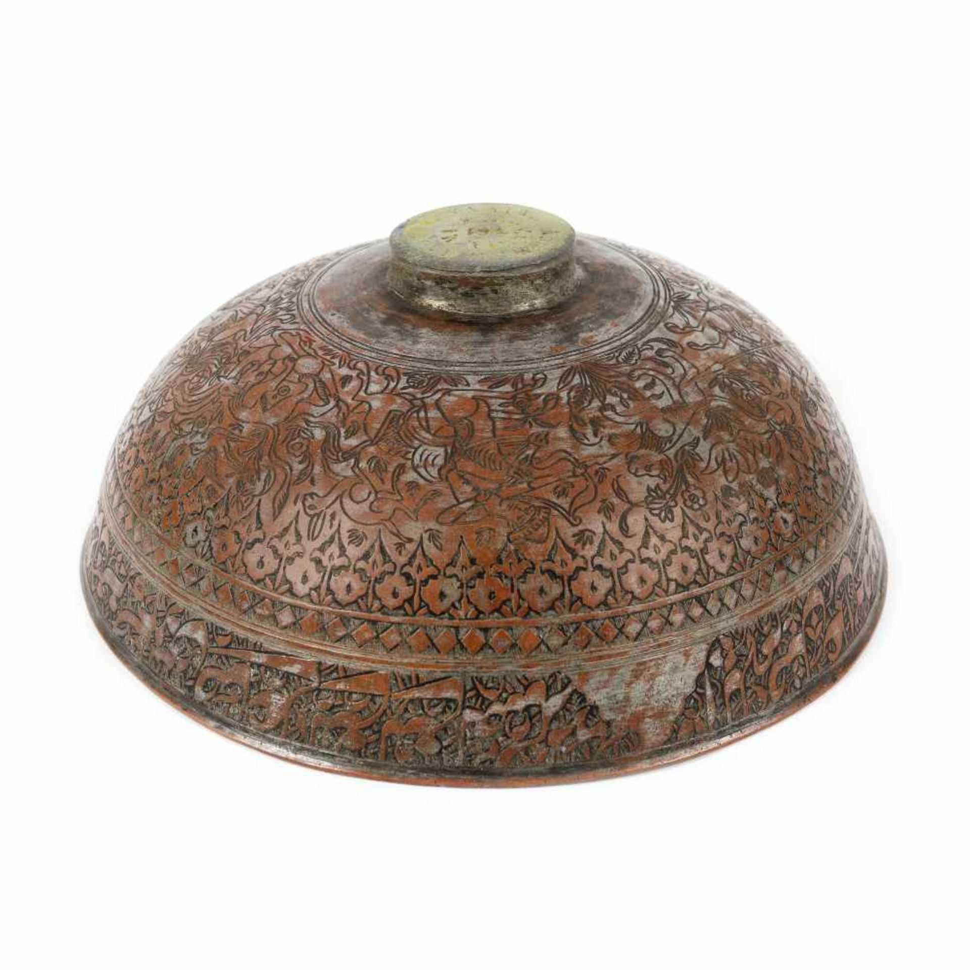 Persian copper vessel, decorated with a hunting scene, early 20th century - Bild 3 aus 4