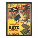 """Advertisement for """"Postăvăria Frații Katz"""" (""""Katz Brothers Felt Workshop""""), Oradea, early 20th ce"""