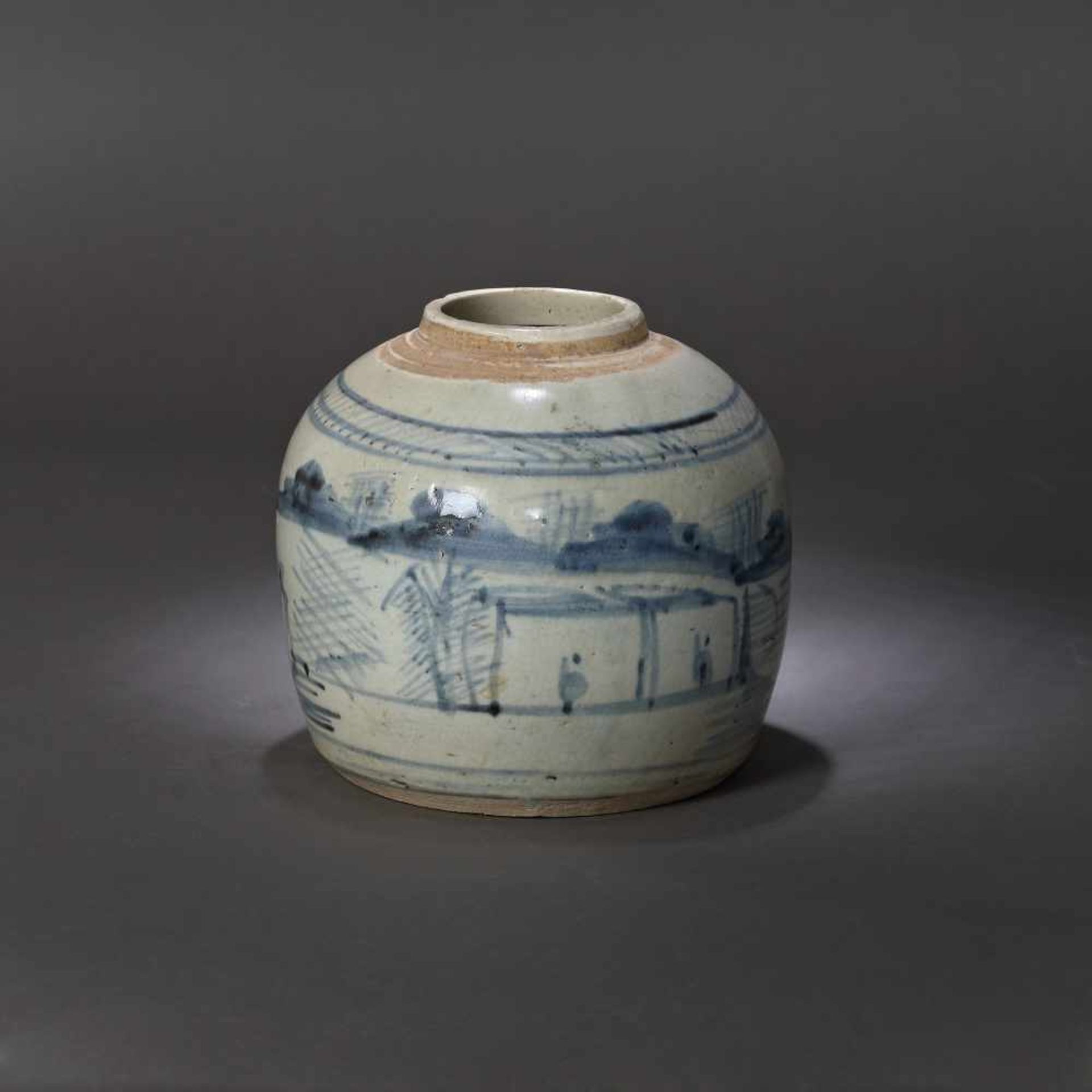Ginger vessel, decorated with traditional landscapes, possibly 17th century