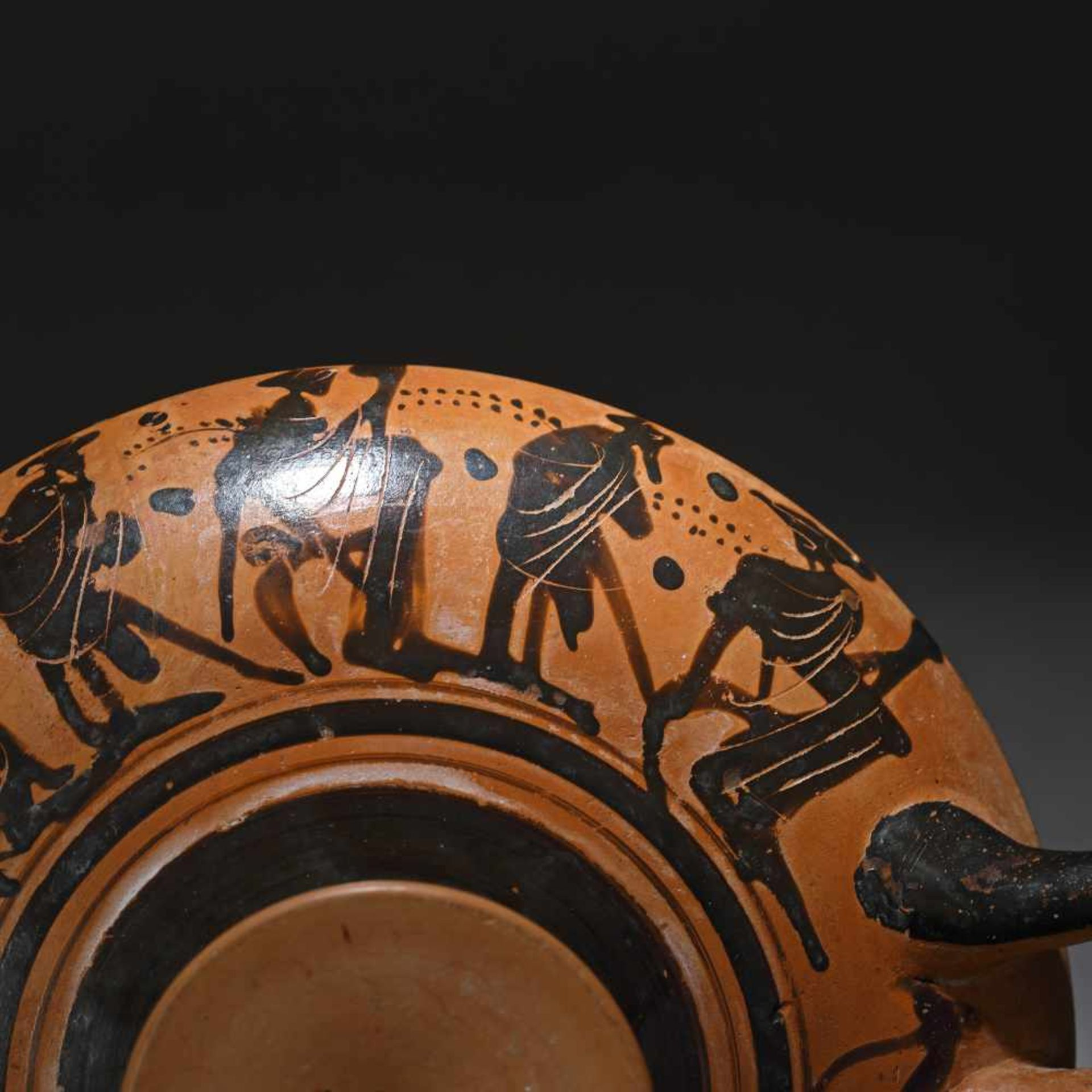 Kylix - ceramic wine jug, black-figure style, Classical Greece, approx. 2,400 years old, 4th century - Bild 4 aus 7