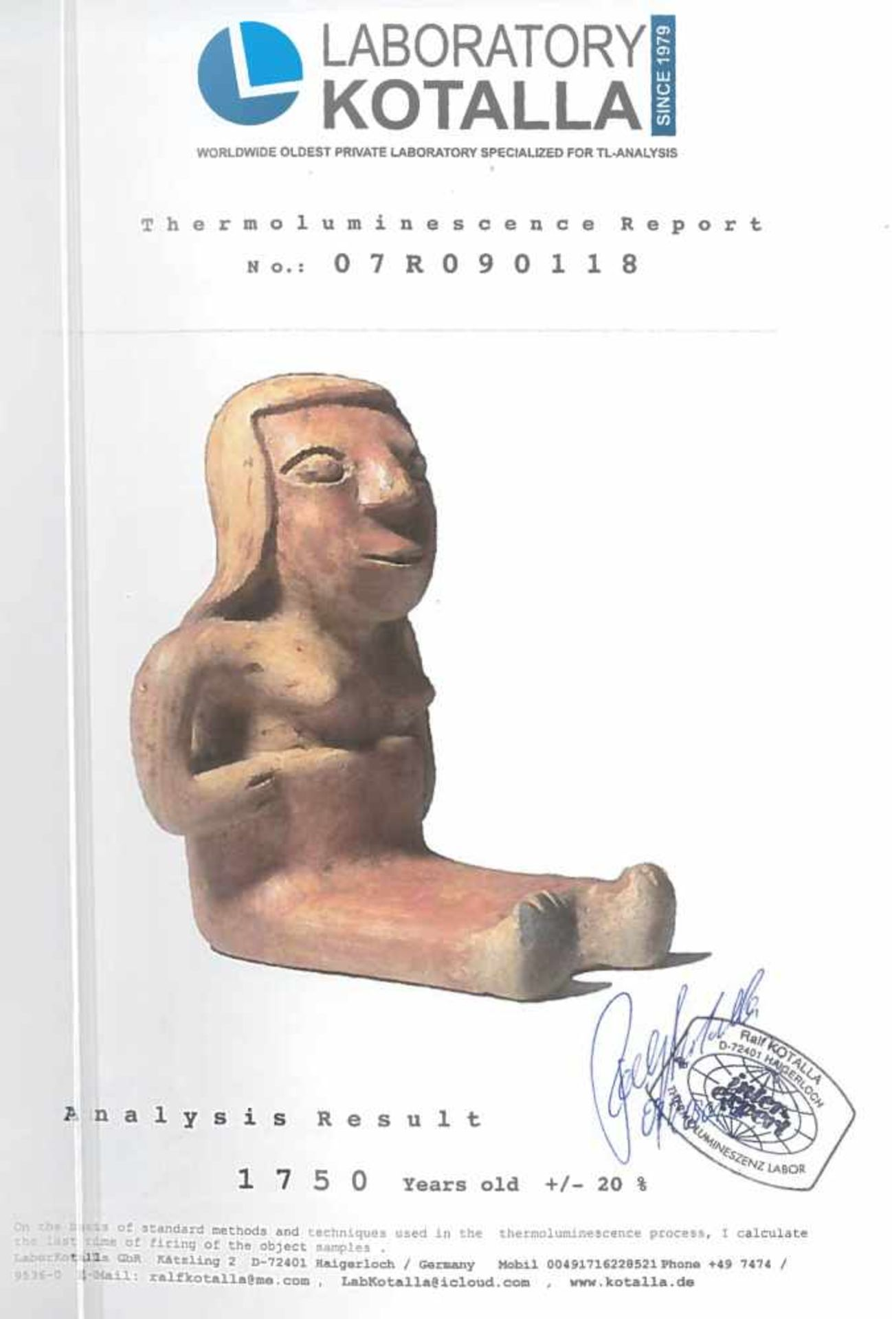 Ceramic statuette, depicting a female figure, Narino culture, Columbia, approx. 1,750 years old, 3rd - Bild 6 aus 6
