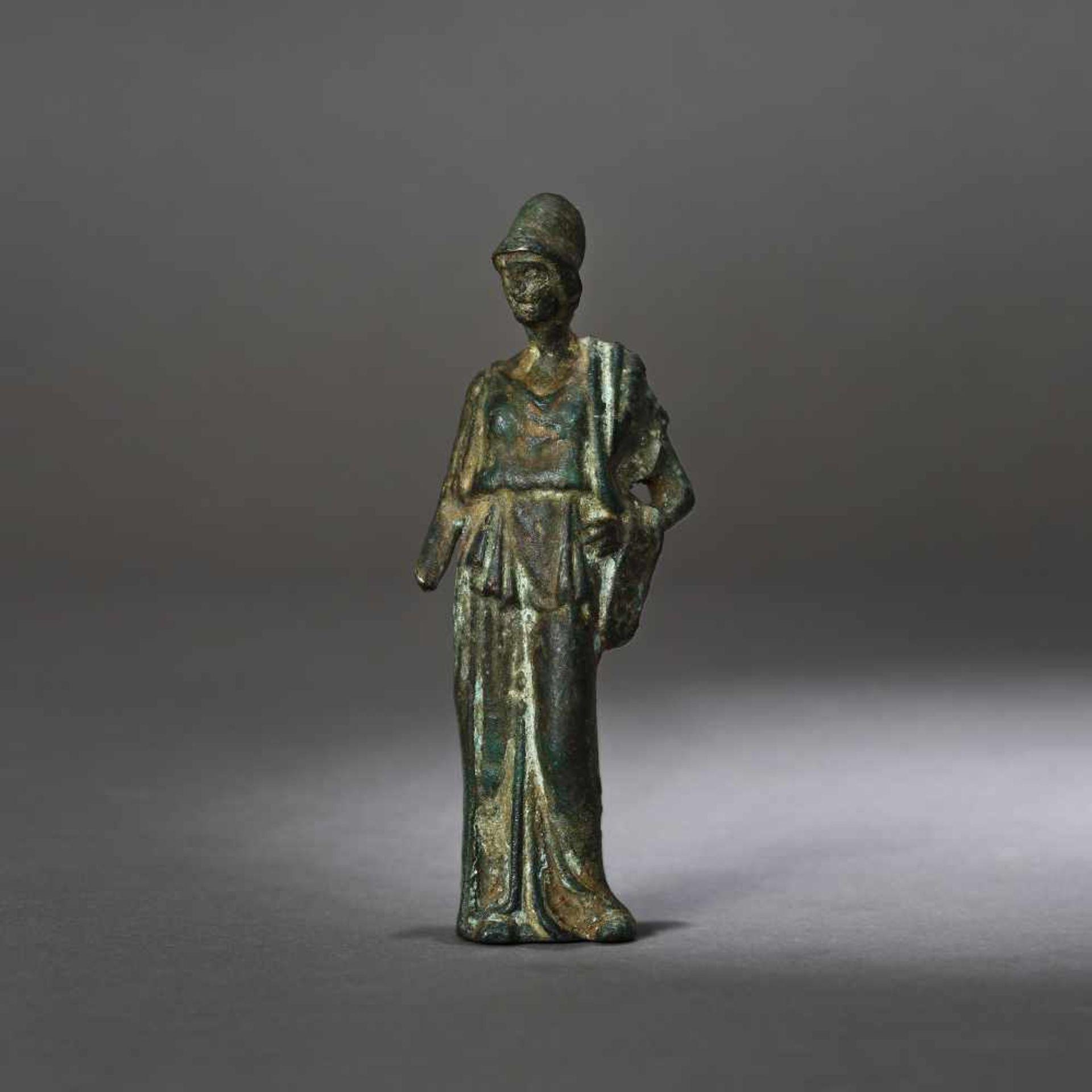 Bronze statuette depicting Athena, the goddess of wisdom, 1st century B.C.
