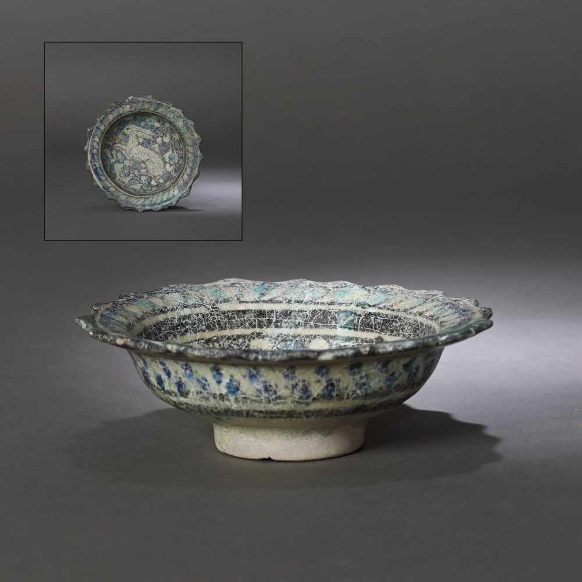 Glazed ceramic Persian bowl, decorated with hunting scene (a rabbit running), approx. 850 years old,