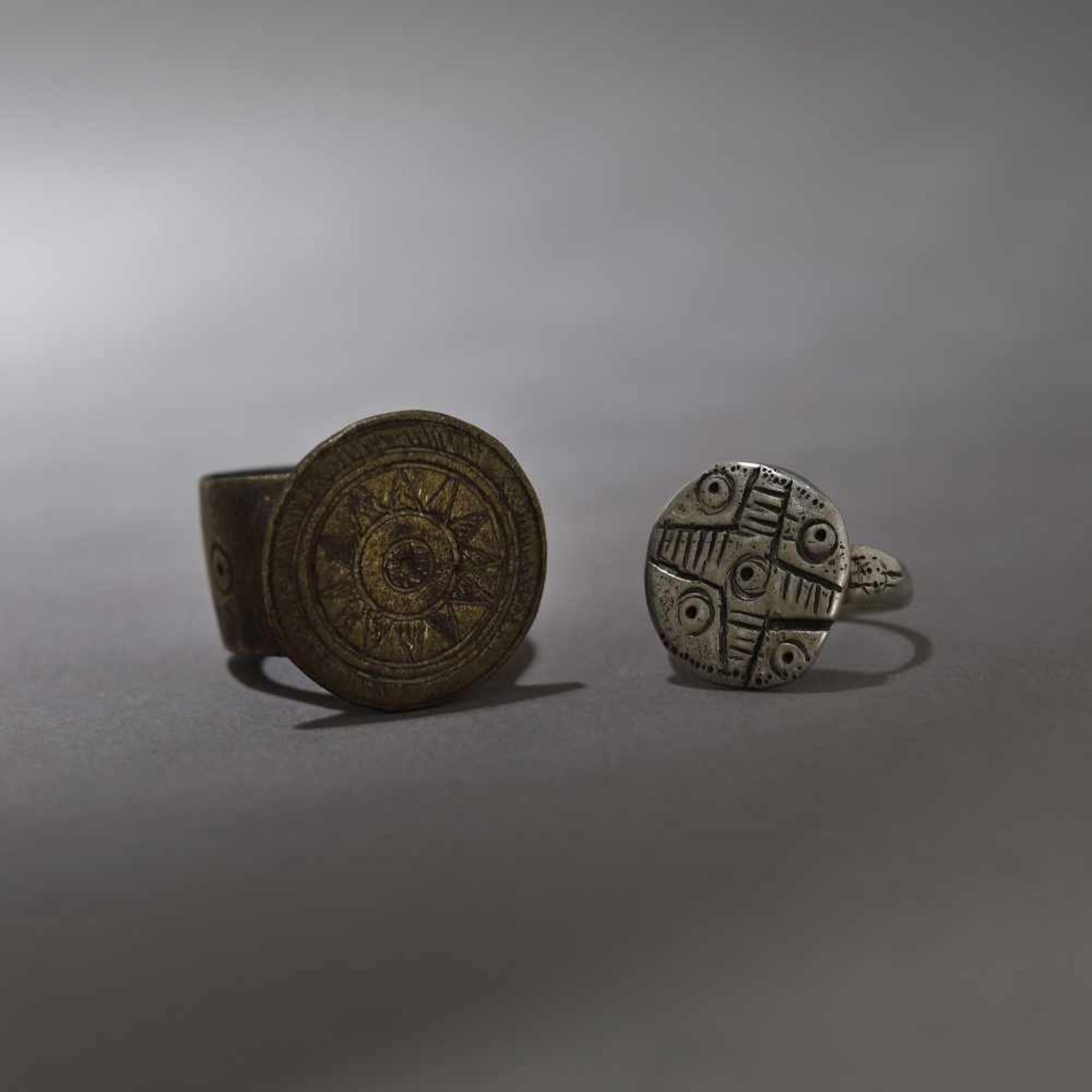 Pair of engagement rings, decorated with cross motif and solar motifs, the Land of the Hutsuls, 19th