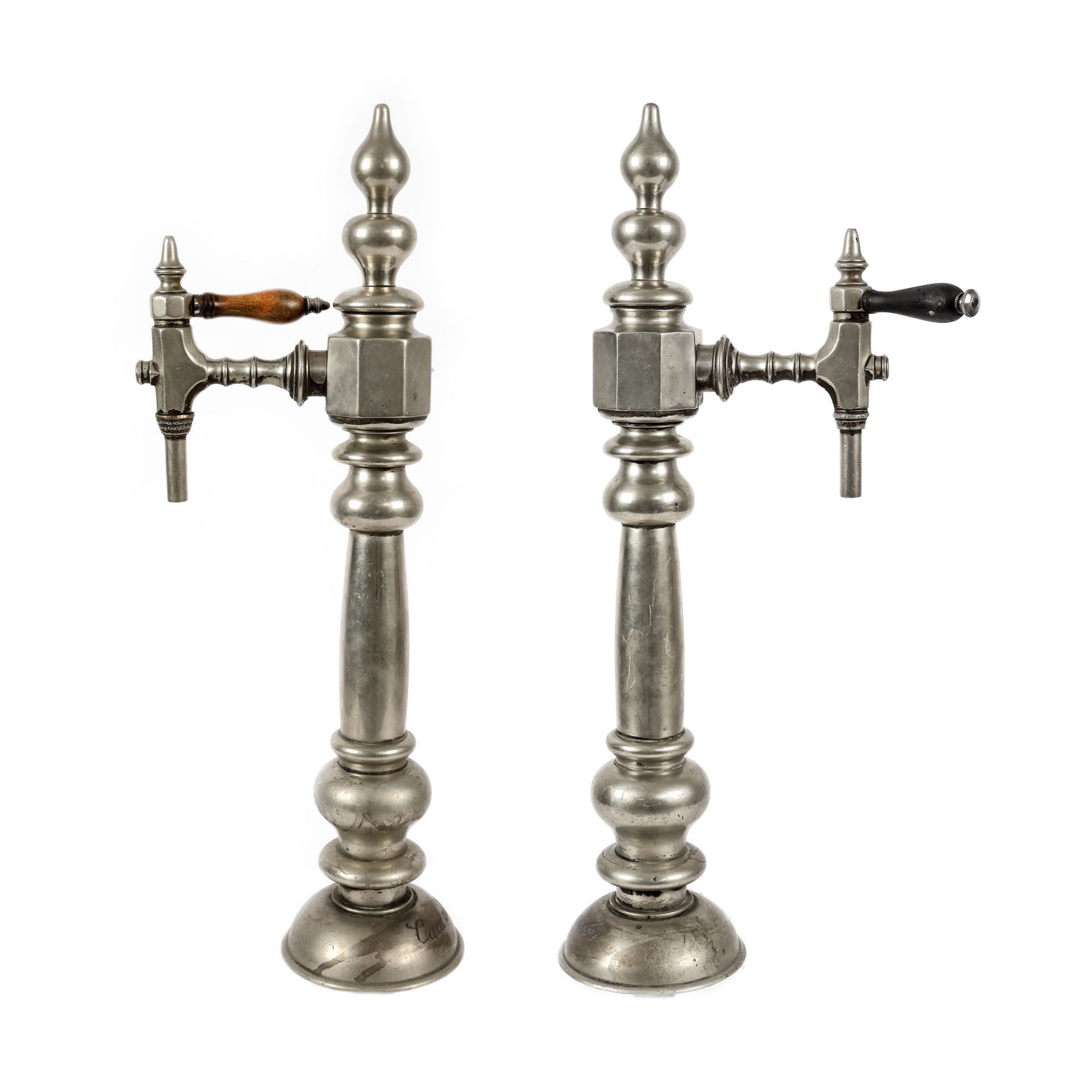 Two beer dispensers, with Caru cu bere restaurant brand, early 20th century