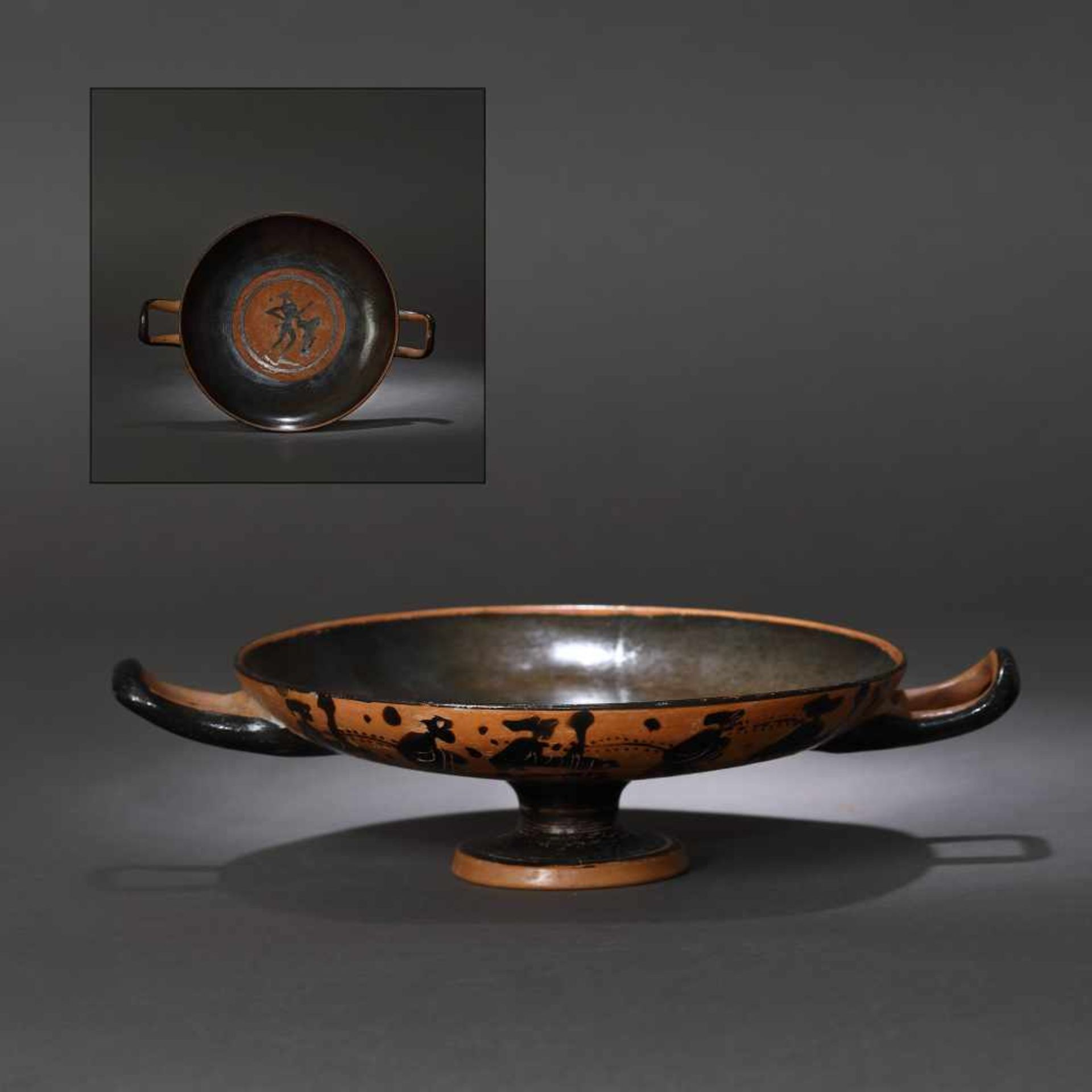 Kylix - ceramic wine jug, black-figure style, Classical Greece, approx. 2,400 years old, 4th century