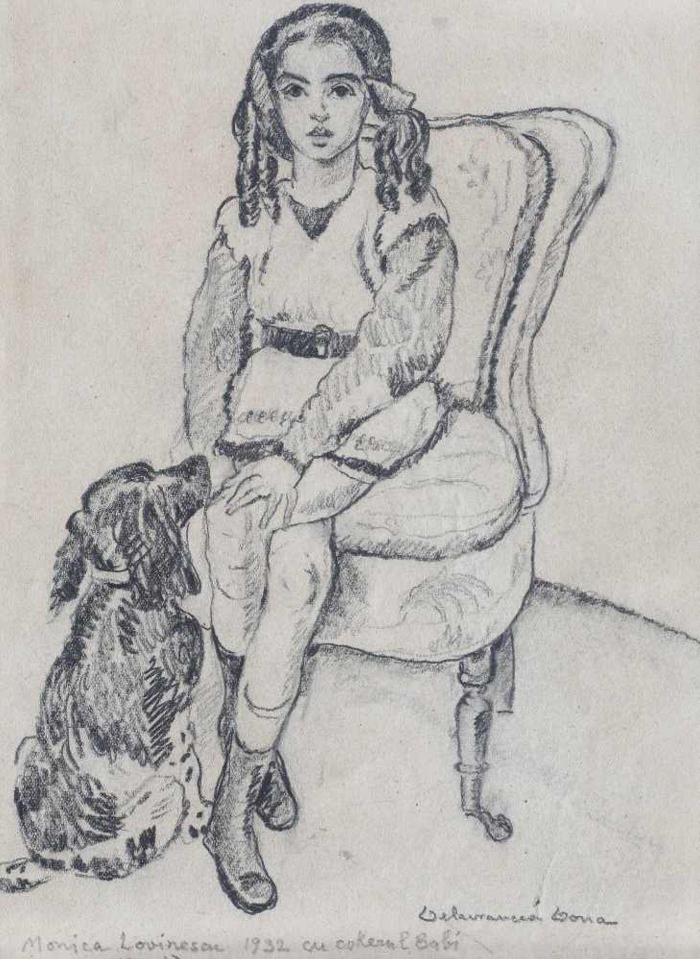 Niculina Delavrancea Dona, Young Woman Posing (Monica Lovinescu and the Cocker Babi)