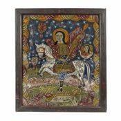 """Saint George Killing the Dragon"", painted frame, attributed to painter Ana Deji, Făgăraș, late 1"