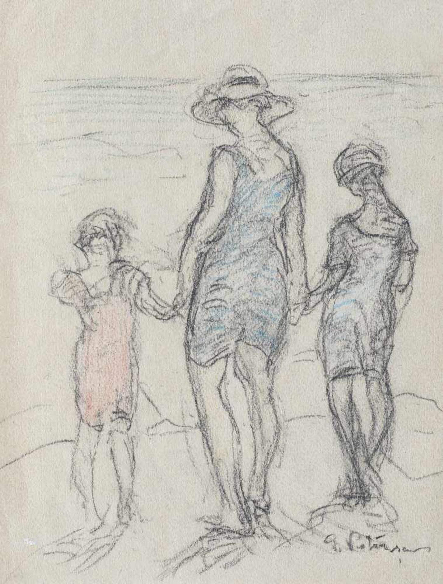 Gheorghe Petraşcu, At the Beach (Mariana, Lucreția and Pichi Petrașcu)