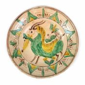 Decorative ceramic bowl, Kuty type, decorated with a goat, author Constantin Colibaba, early 20th ce