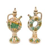 Pair of wedding jugs, decorated with bull and plant elements, signed Constantin Colibaba, interwar p