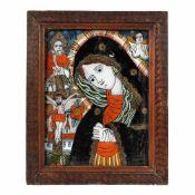 """Bereaved Virgin Mary"", painted frame, Transylvanian workshop (Șcheii Brașovului), late 19th centu"