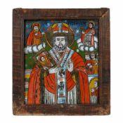 """Saint Nicholas"", painted frame, Transylvanian workshop (Șcheii Brașovului), early 19th century"