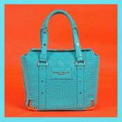 Gianni Versace Couture bag, leather, with greca motif, turquoise, for women