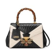 """Queen Margaret"" - Gucci bag, leather, monochrome, centrally decorated with a stylized bee and bambo"
