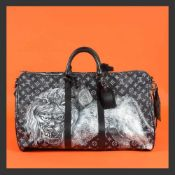 """Keepall Bandouliere 55"" - Louis Vuitton x Chapman Brothers, travel bag, leather, black, decorated w"
