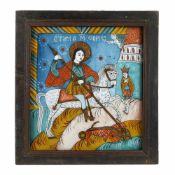 """Saint George Killing the Dragon"", icon on glass, stained frame, attributed to painter Petru Tămaș"