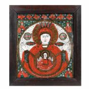 """Mother of God of the Sign"", icon on glass, stained frame, Țara Bârsei workshop, late 19th century"