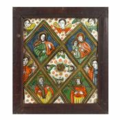 """The Table of Heaven"", icon on glass, stained frame, Șcheii Brașovului workshop, late 19th century"