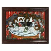 """The Lamentation of Jesus"", icon on glass, stained frame, Țara Făgărașului workshop, approx. 186"