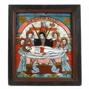 """The Lamentation of Jesus"", icon on glass, stained frame, Grecu workshop, Săsăuș, mid-19th centur"