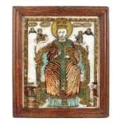 """Saint Nicholas the Miracle-Worker Enthroned"", icon on glass, attributed to painter Matei Țâmforea"