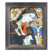 """Bereaved Virgin Mary"", icon on glass, attributed to painter Petru Prodan, Maieri, Alba Iulia, appro"