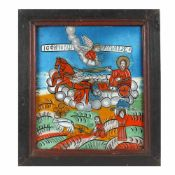 """The Ascension of the Holy Prophet Elijah and scenes from his life"", icon on glass, stained frame,"