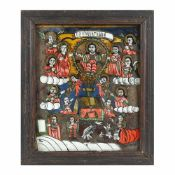 """The Last Judgment"", icon on glass, stained frame, Nicula workshop, mid-19th century"