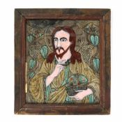 """Jesus Pantocrator"", icon on glass, painted frame, attributed to painter Nicolae Oancea din Vale,"