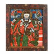 """Saint Nicholas the Miracle-Worker Enthroned"", icon on glass, painted frame, attributed to painter I"