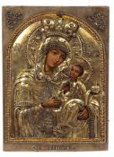 "Russian icon ""Galatskaya Mother of God"" with oklad. - End of 19th century. - 30x22 cm."