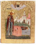 "Russian icon ""Sergey of Radonezh at the tomb of his parents"". - 19th century. - 23x17,5 cm.Tempera"