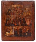 [A rare icon. Russian]. Old belivier's Seven partite icon. - 18th century. - 33x27 cm.