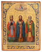 "Russian icon ""The Three Church Fathers, Basil the Great, Gregory the Theologian and John"